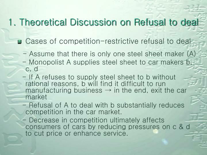 1. Theoretical Discussion on Refusal to deal