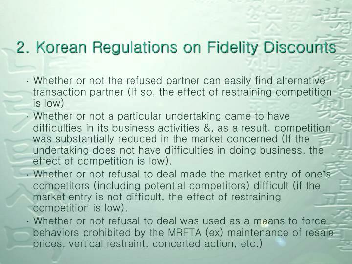 2. Korean Regulations on Fidelity Discounts
