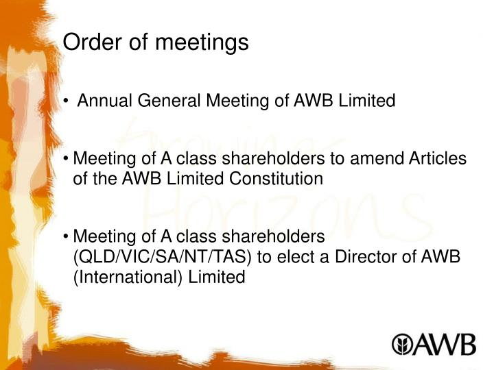 Order of meetings