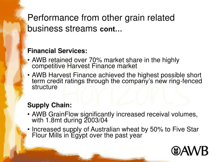Performance from other grain related business streams