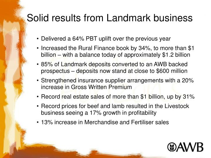 Solid results from Landmark business