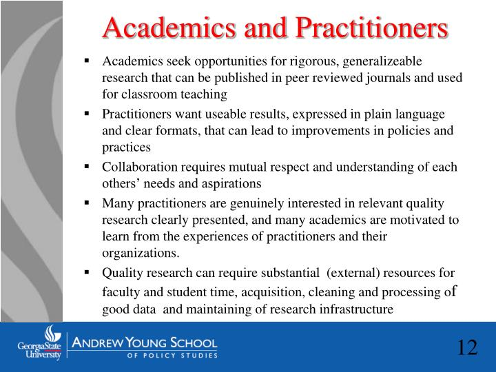 Academics and Practitioners