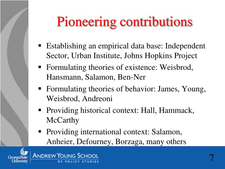Pioneering contributions