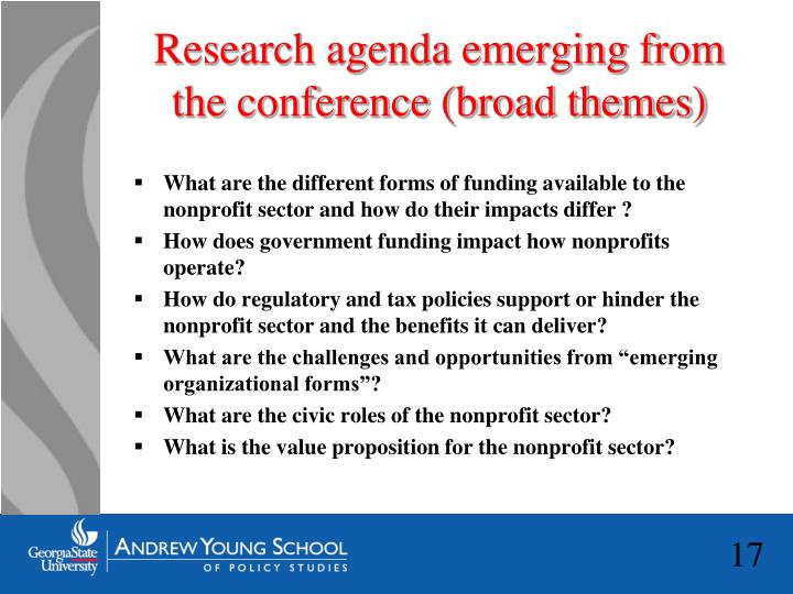Research agenda emerging from the conference (broad themes)