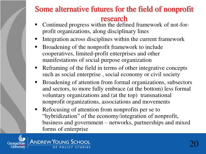 Some alternative futures for the field of nonprofit research
