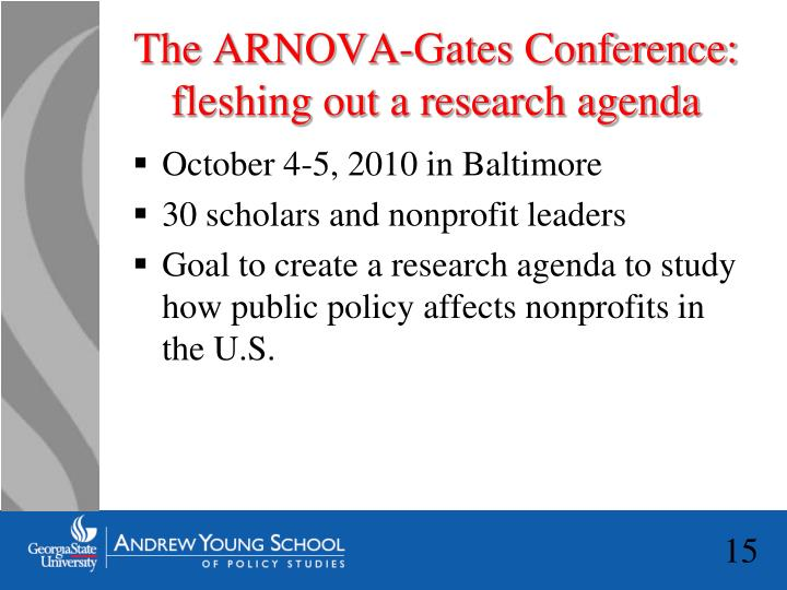 The ARNOVA-Gates Conference: fleshing out a research agenda