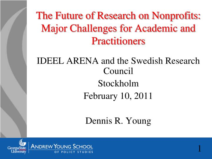 The future of research on nonprofits major challenges for academic and practitioners