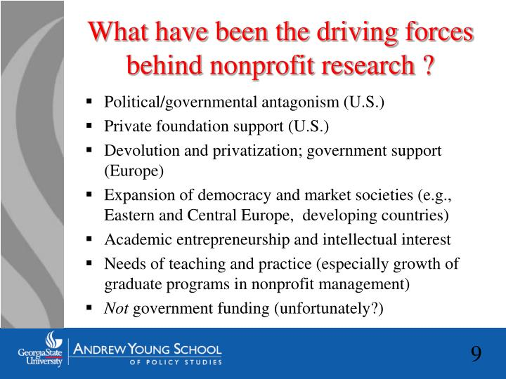 What have been the driving forces behind nonprofit research ?