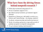 what have been the driving forces behind nonprofit research