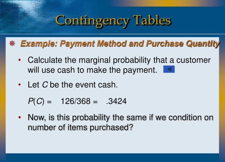 Calculate the marginal probability that a customer will use cash to make the payment.