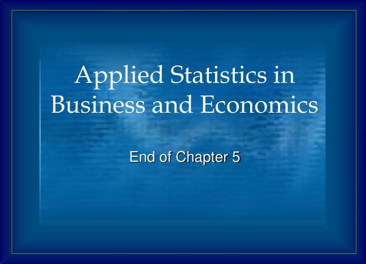 Applied Statistics in