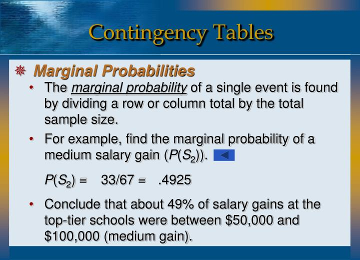For example, find the marginal probability of a medium salary gain (
