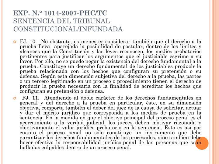 EXP. N.° 1014-2007-PHC/TC