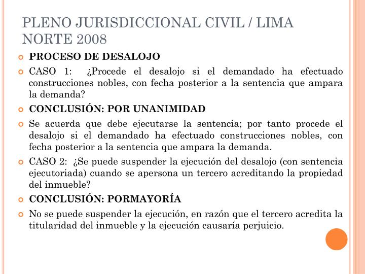 PLENO JURISDICCIONAL CIVIL / LIMA NORTE 2008