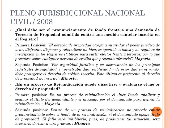 PLENO JURISDICCIONAL NACIONAL CIVIL / 2008