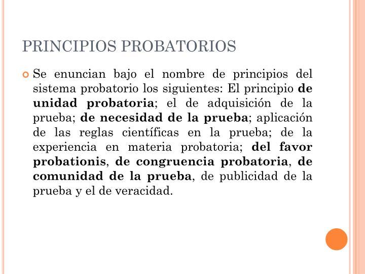 PRINCIPIOS PROBATORIOS