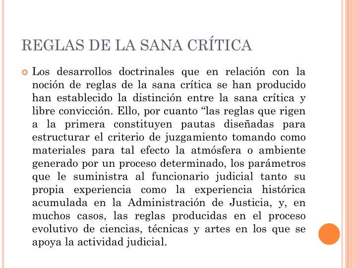 REGLAS DE LA SANA CRÍTICA