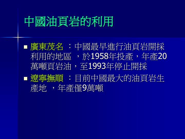中國油頁岩的利用