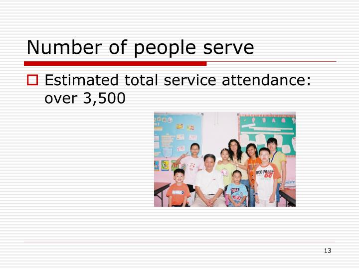 Number of people serve