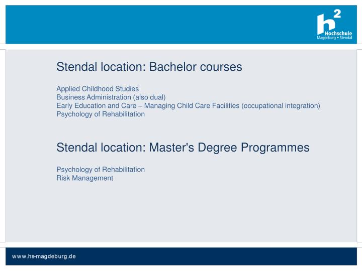 Stendal location: Bachelor courses