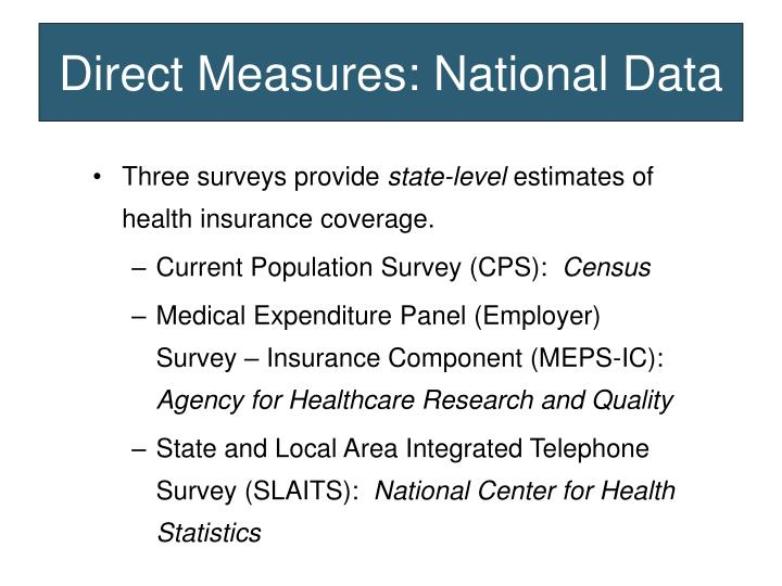 Direct Measures: National Data
