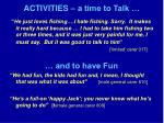 activities a time to talk