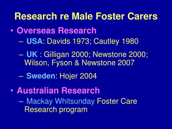 Research re Male Foster Carers