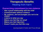 therapeutic benefits healing from harm