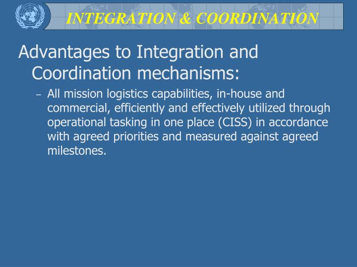 INTEGRATION & COORDINATION