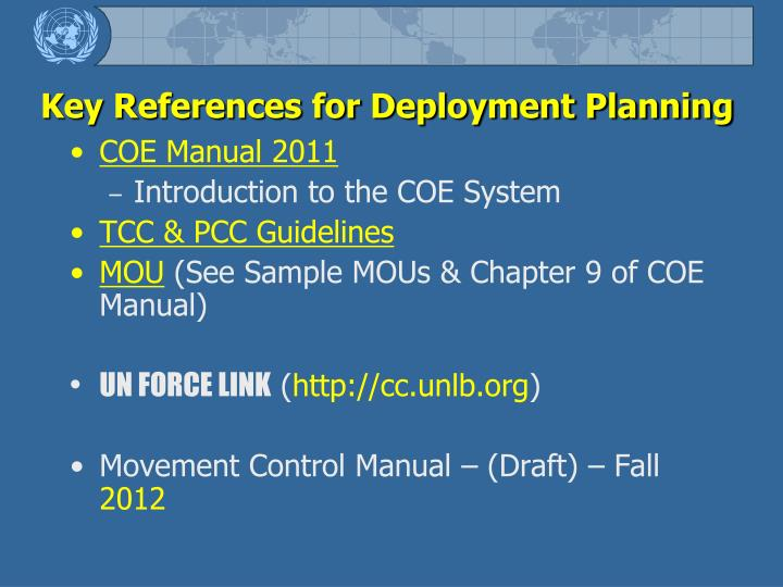 Key References for Deployment Planning