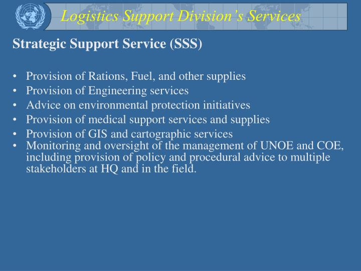 Logistics Support Division's Services