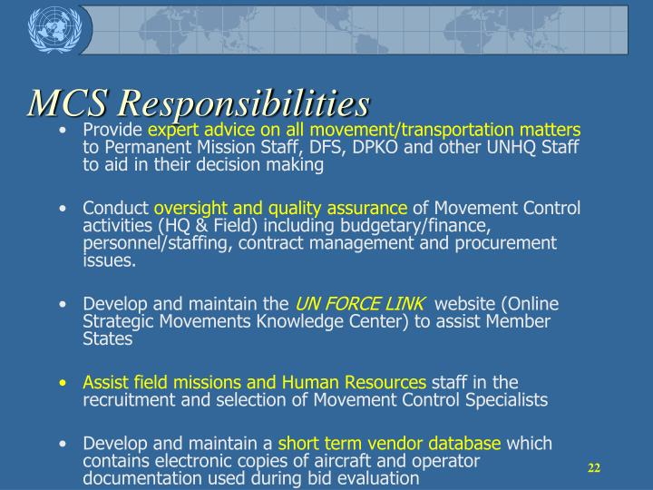 MCS Responsibilities