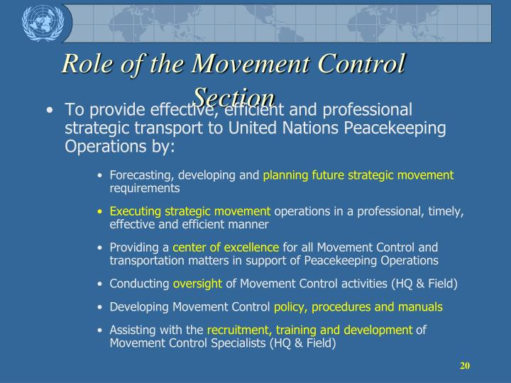 Role of the Movement Control Section