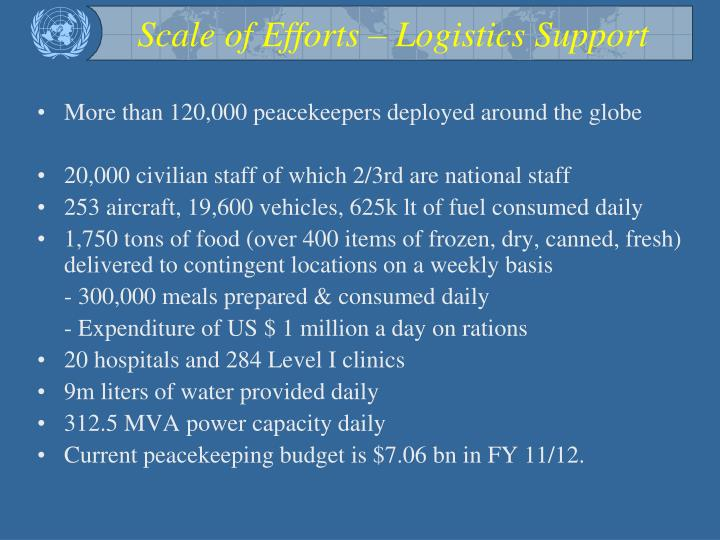 Scale of Efforts – Logistics Support