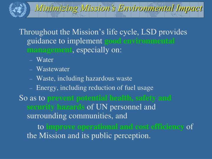 Minimizing Mission's Environmental Impact