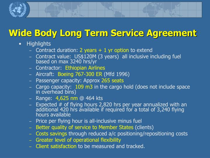 Wide Body Long Term Service Agreement