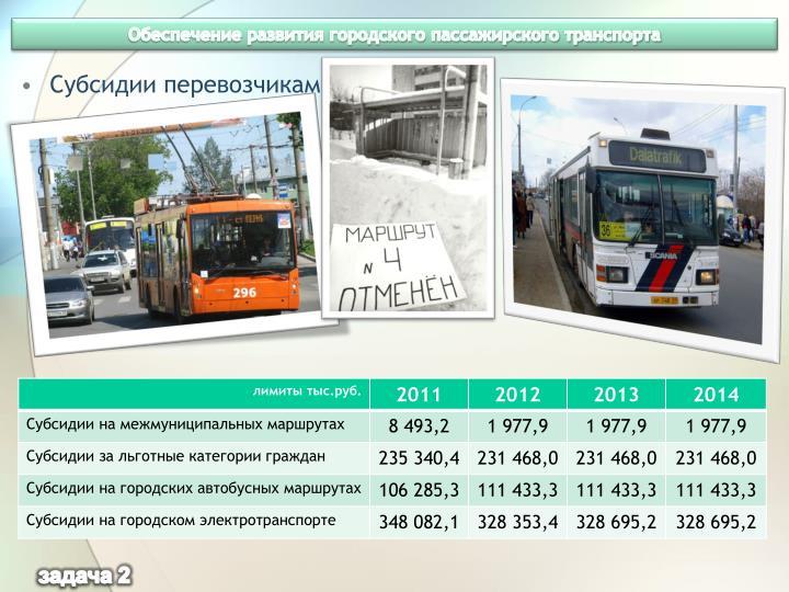Обеспечение развития городского пассажирского транспорта