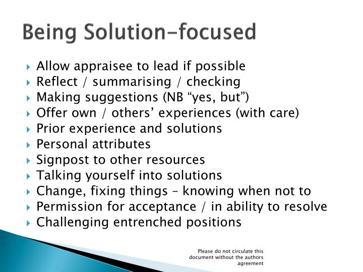 Being Solution-focused