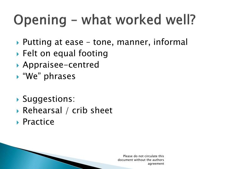 Opening – what worked well?