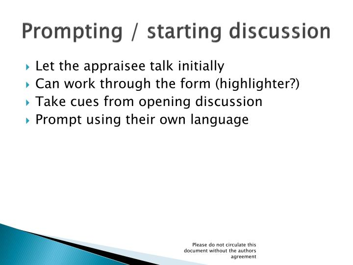 Prompting / starting discussion