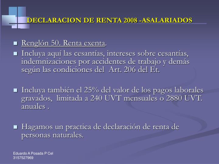 DECLARACION DE RENTA 2008 -ASALARIADOS
