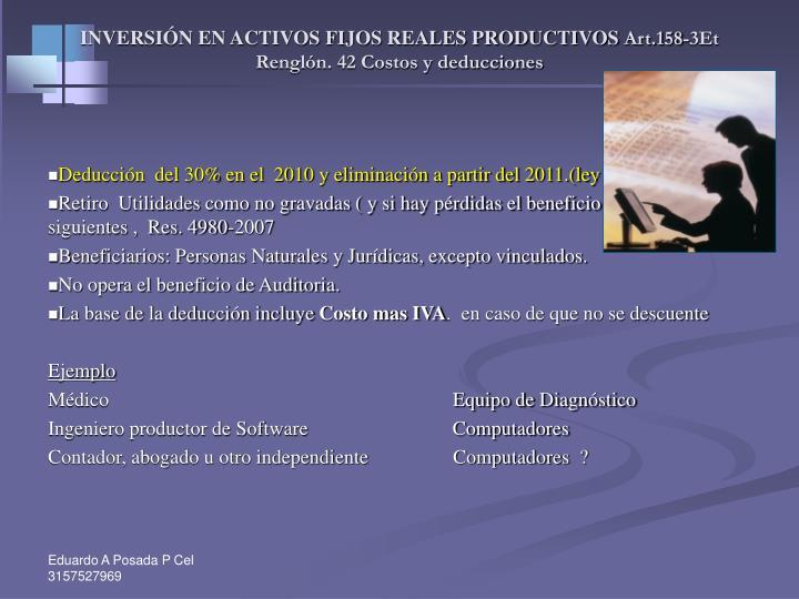 INVERSIÓN EN ACTIVOS FIJOS REALES PRODUCTIVOS