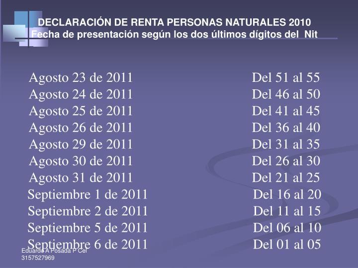 DECLARACIÓN DE RENTA PERSONAS NATURALES 2010