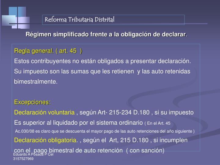 Reforma Tributaria Distrital