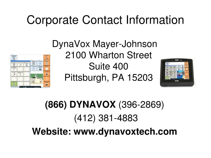 Corporate Contact Information
