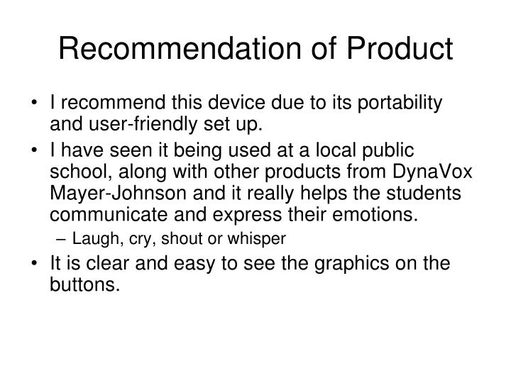 Recommendation of Product