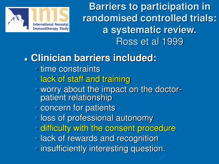 Barriers to participation in randomised controlled trials: a systematic review.