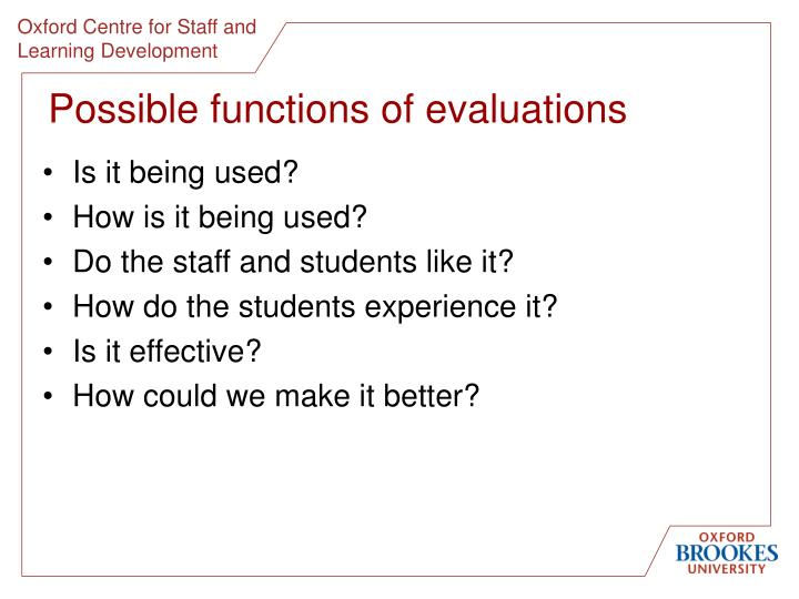 Possible functions of evaluations