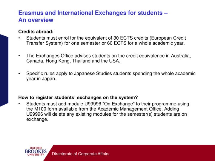 Erasmus and International Exchanges for students –