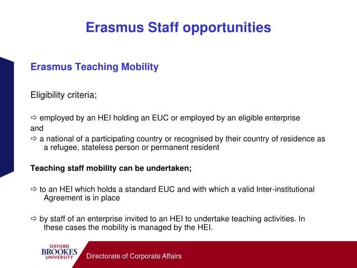 Erasmus Staff opportunities